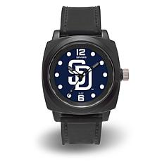 "MLB Sparo Team Logo ""Prompt"" Black Strap Sports Watch - Padres"