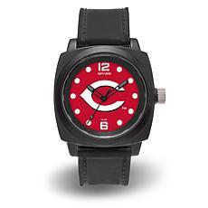 "MLB Sparo Team Logo ""Prompt"" Black Strap Sports Watch - Reds"