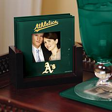 MLB Sports Team Set of 4 Glass Coasters - Oakland A's
