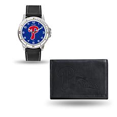 MLB Team Logo Watch & Wallet Set in Black - Phillies