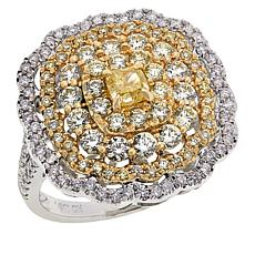 Modani Jewels 14K Gold 1.97ctw Yellow and White Diamond Cluster Ring