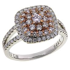 Modani Jewels 14K Gold .98ctw Pink and White Diamond Cluster Ring