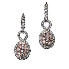 Modani Jewels 14K Two-Tone .50ctw Pink and White Diamond Drop Earrings