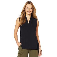ModernSoul® Bamboo Jersey Funnel V-Neck Sleeveless Top