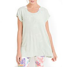 Mono B Mineral-Wash Bow Cutout Back Flowy Top