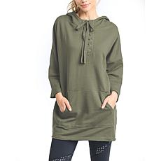 Mono B Olive Front Lace-Up Longline Hoodie Sweater