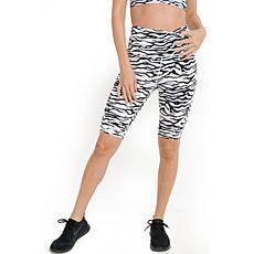 Mono B Print Highwaist Zebra Print Bermuda Active Shorts