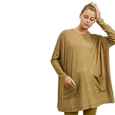 Mono B Round Neck Smock Top with Pockets