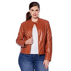 Motto Contour-Seamed Faux Leather Moto Jacket