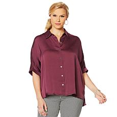 Motto Dolman-Sleve Satin Button-Down Top