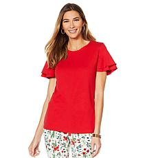 Motto Fearless Pima Cotton Flutter Sleeve Tee