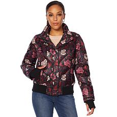 Motto Floral Printed Puffer Coat