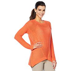 Motto Pointelle Trapeze-Hem Side-Zip Sweater