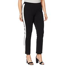 Motto Ponte Knit Pull-On Ankle Pant - Tuxedo Stripe