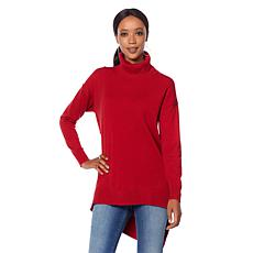 Motto Soft Knit Turtleneck with Asymmetric Hem