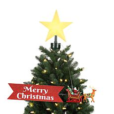 Mr. Christmas Animated Santa's Sleigh with Banner Tree Topper