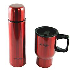 Mr Coffee Javelin 2-Piece Double Wall Thermos and Travel Mug Gift S...