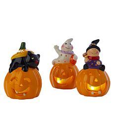 Mr. Halloween Set of 3 Lit Pumpkins with Whimsical Figures