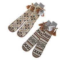 MUK LUKS 2-pack Tassel Slipper Sock