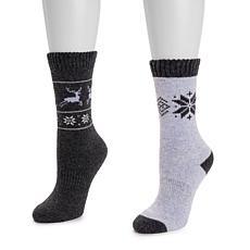 MUK LUKS® Women's 2-Pair Pack Wool Boot Socks