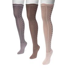 MUK LUKS Women's 3-pack Lace Texture Over-the-Knee Socks