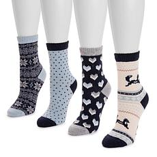 MUK LUKS® Women's 4-Pack Holiday Boot Socks