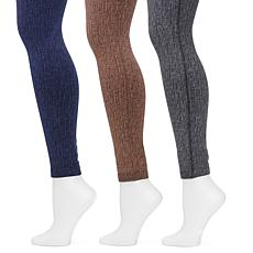 MUK LUKS® Women's Marl FleeceLined Leggings 3-Pack (Brown/Grey/Indigo)