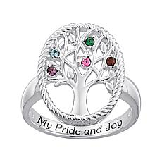 """My Pride and Joy"" Birthstone Crystal Family Tree Ring"