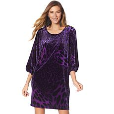 N Natori Dolman-Sleeve Printed Velvet Dress