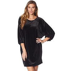 N Natori Dolman-Sleeve Solid Velvet Dress