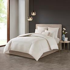 N Natori Hanae Cotton Blend 3-piece King Comforter Set - White