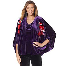 N Natori Velvet Topper with Embroidery