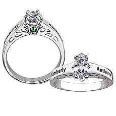 Name & Hidden Birthstone Crystal CZ Promise Ring