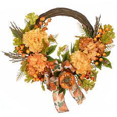 "National Tree Company 23"" Harvest Mums and Hydrangeas Wreath"