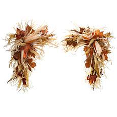 "National Tree Company 24"" Harvest Raffia Corner Swags w/ Maple Leaves"