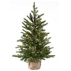National Tree Feel Real Nordic Spruce in Burlap with 100 Clear Lights