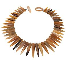 "Natural Beauties Brown Watusi Cattle Horn Spiked 25-3/4"" Necklace"