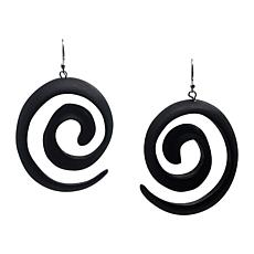 Natural Beauties Carved Ebony Wood Swirl Earrings