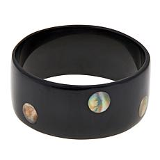 Natural Beauties Dark Horn & Mother-of-Pearl Bangle