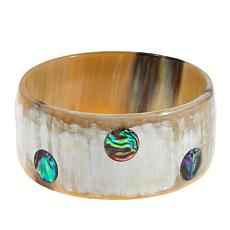 Natural Beauties Light Horn and Abalone Shell Bangle