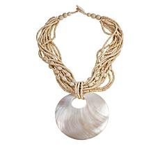 Natural Beauties Multi-Strand Beaded Shell Drop Necklace