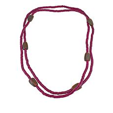 "Natural Beauties Pink Coconut Shell and Buffalo Horn 80"" Necklace"