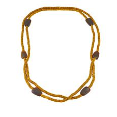"Natural Beauties Yellow Coconut Shell and Buffalo Horn 80"" Necklace"