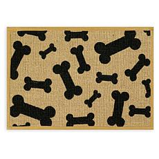 "Natural Jute Pet Placemat 13"" x 9"" - Black Bone"