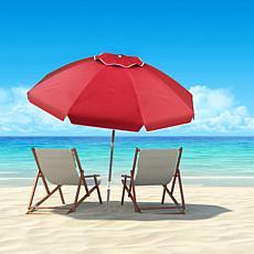 Nature Spring Tilt and Anchor Beach Umbrella - Red