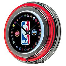 NBA Logo Double Ring Neon Clock