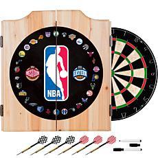 NBA Logo with All Teams Beveled Wood Dart Cabinet Set