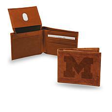 NCAA Embossed Leather Billfold Wallet - Michigan