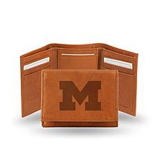 NCAA Embossed Leather Trifold Wallet - Michigan
