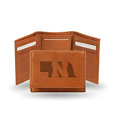 NCAA Embossed Leather Trifold Wallet - Nebraska
